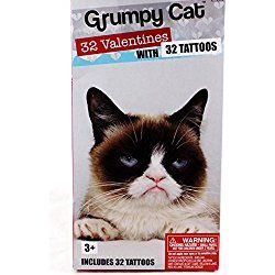 32 Grumpy Cat Valentine Classroom Sharing Cards with Tattoos