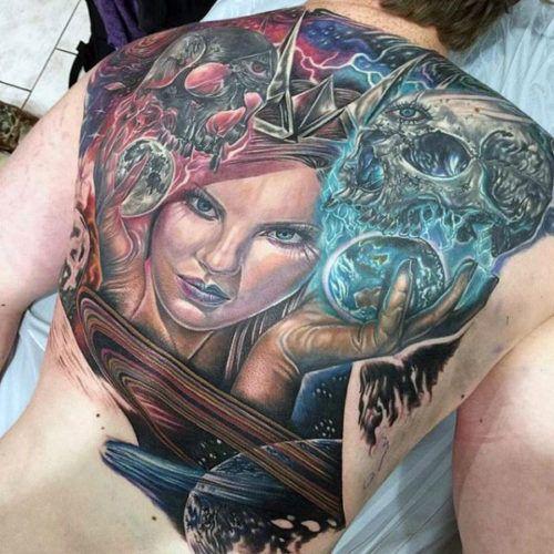 Back Tattoos For Men - Princess and Skull