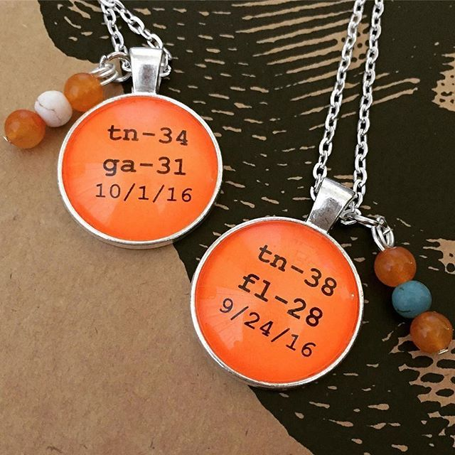 Vols victory scores of their WINS vs Florida and Georgia!  Celebrate with these awesome pendant necklaces available @southernmarketshops!  #Repost @magicknox_hookery ・・・ #tennessee #pendant #handmadejewelry #ut #knoxville #utk #gobigorange #artsandcrafts #tn #gbo #football #etsylocal #vfl #govols #makersvillage #Appalachia #fall #vols #orange #footballtimeintn #art #ourbestfinds #southernmarketshops #southernmarketknoxville #thedistrictinbearden