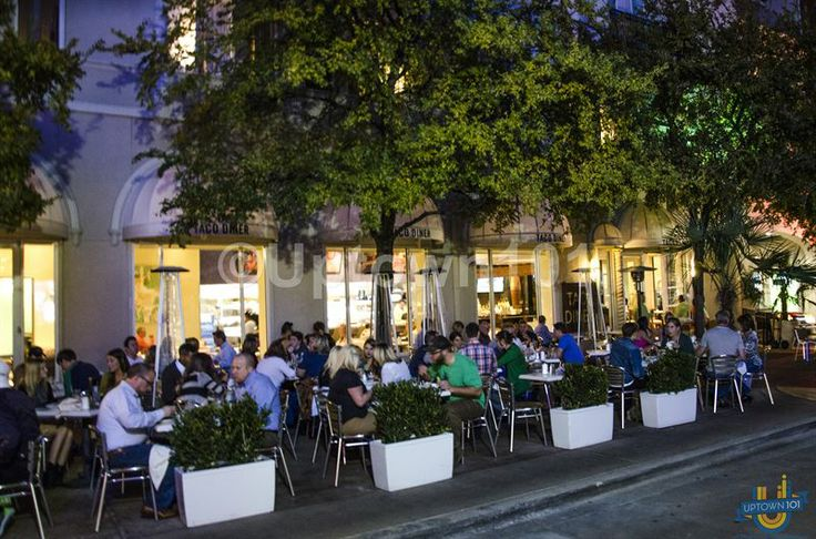 Patio dining and people watching...at night at the West Village. West Village Dallas in Uptown Dallas More photos available at: #WestVillageDallas
