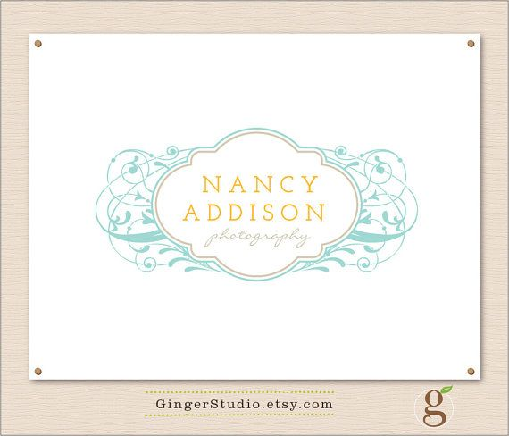 Premade Logo Design branding vintage ornament by GingerStudio, $35.00