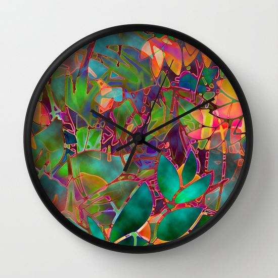 Floral Abstract Stained Glass G176 Abstract Wall Clocks