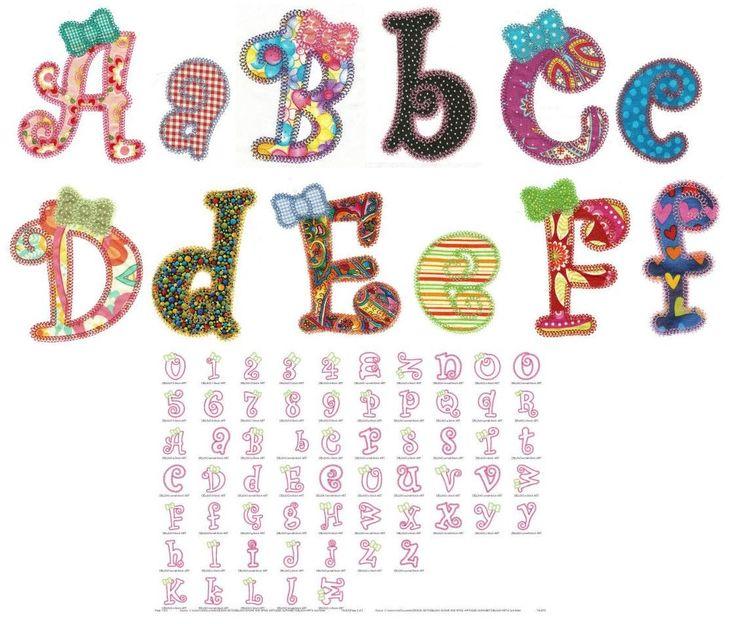 Girly alphabet applique machine embroidery font designs