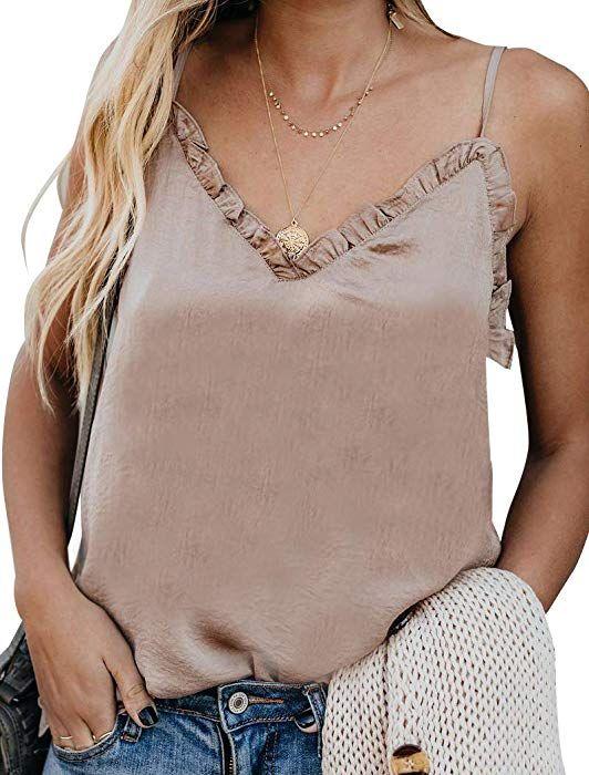 84630bcf0428a2 Hilltichu Women's V-Neck Ruffle Camisole Adjustable Spaghetti Strap Tank Top  at Amazon Women's Clothing store: