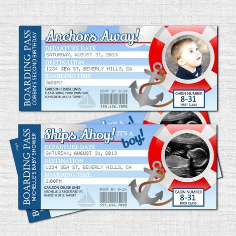 BOARDING PASS INVITATIONS Cruise Ship Nautical Birthday or Baby Shower Tickets - (print your own) Personalized Printable on Etsy, $9.00