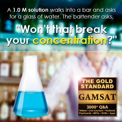 """A 1.0 M solution walks into a bar and asks for a glass of water. The bartender asks """"Won't that break your concentration?"""""""