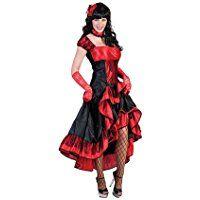 Kostümplanet® Western Saloon Girl Kleid Damen Kostüm Gruppen Damen-Kostüm Cowgirl Wilder-Westen Größe 36/38