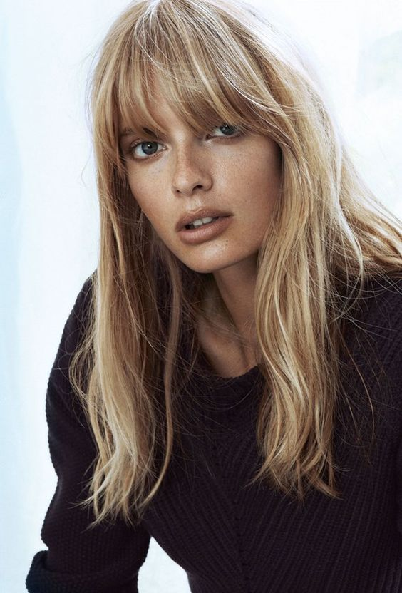 Julia Stegner Bangs hair trend fall / winter 2016 - Fashionchick