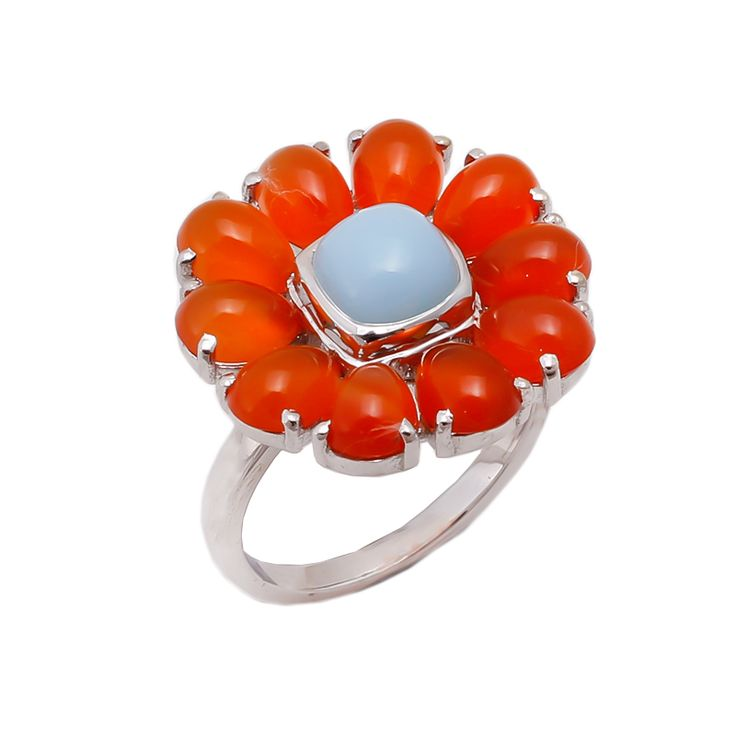 Orange Chalcedony and Blue Chalcedony in sterling silver.