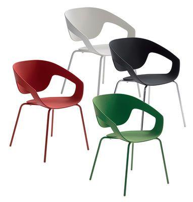 Vad Stackable armchair - Plastic & metal legs Black by Casamania
