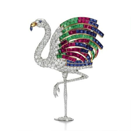 The ruby, sapphire, emerald, citrine and diamond flamingo clip, mounted by Cartier, Paris, 1940