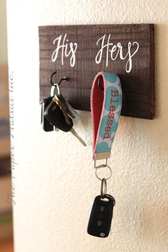 His and Hers Key Holder Sign, Rustic Home Decor, Housewarming Gift, Bridal…