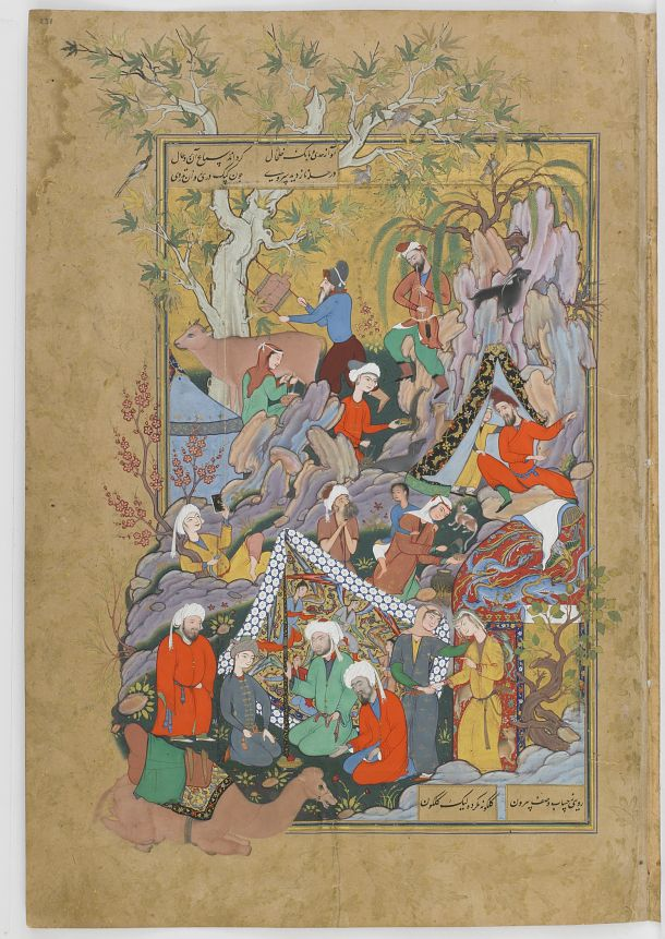 Click to zoom Double-folio from the Haftawrang (Seven Thrones) by Jallil (d. 1492): Qays(Majnun) first Glimpses Layla (f. 231a)