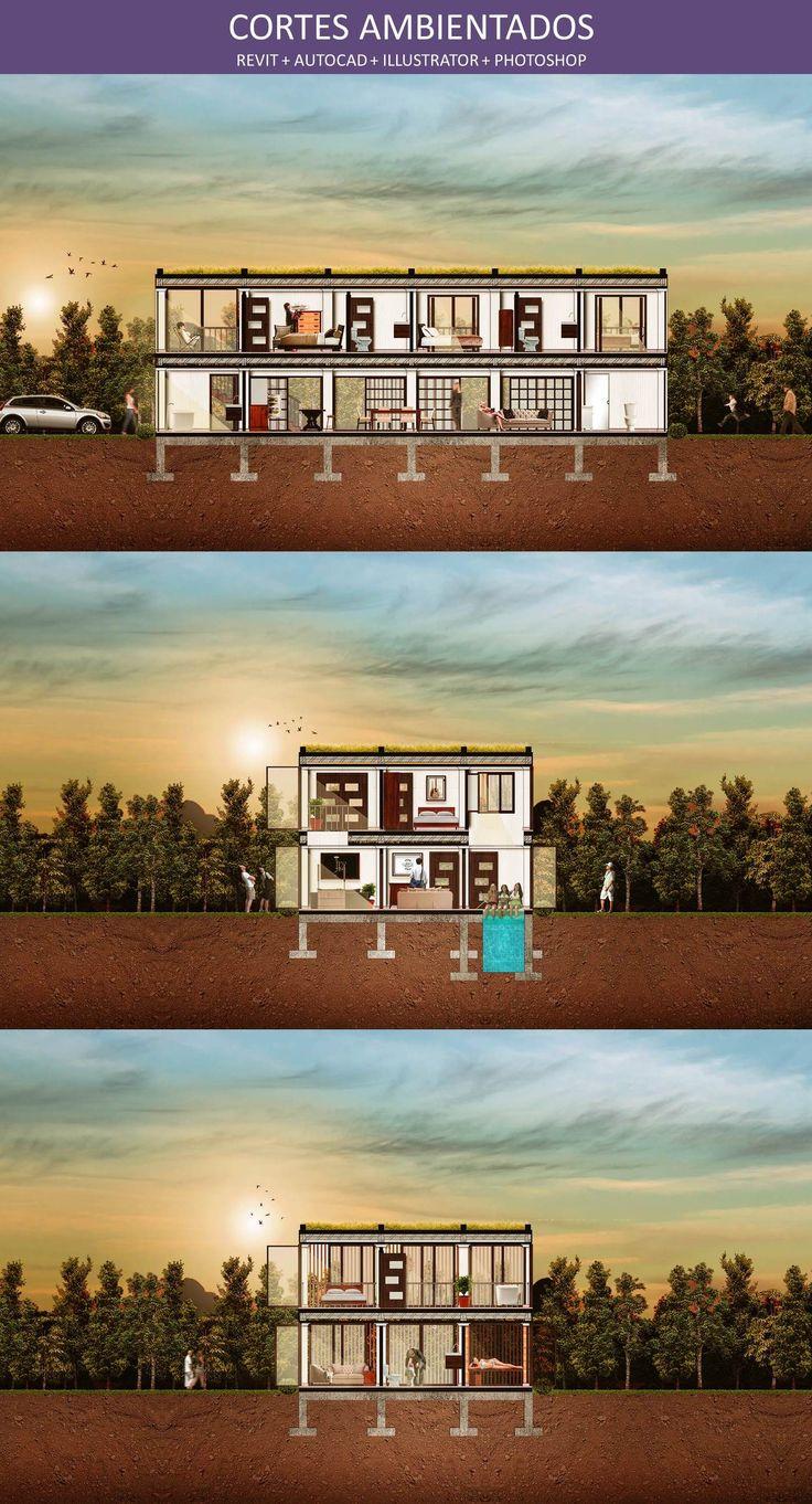 Cortes Ambientados Planos Arquitectónicos: REVIT Organizados en Capas: AUTOCAD Texturas: ILLUSTRATOR Composición: PHOTOSHOP