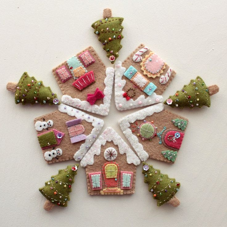 "Felt Gingerbread Houses/ sewn together in that ""snowflake"" shape would make great ornaments"