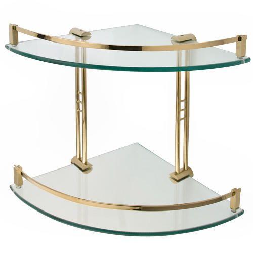 """14"""" Engel Tempered Glass Corner Shelf - Two Shelves - Polished Brass"""
