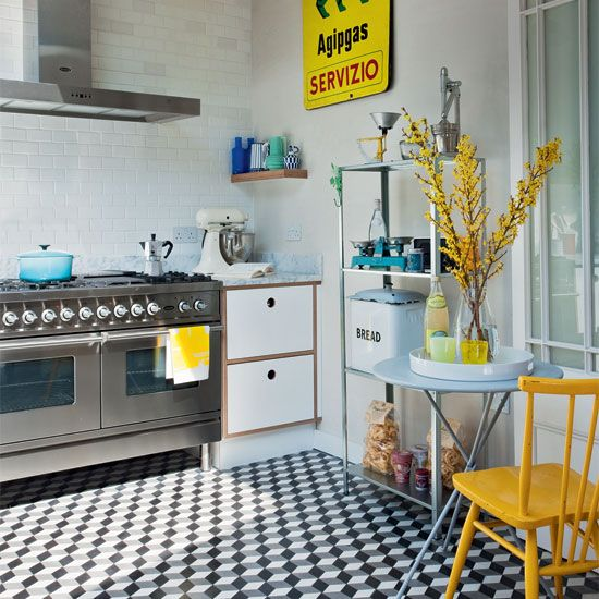 Industrial-style kitchen with geometric tiles