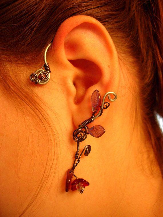 floral ear cuff for non pierced ears