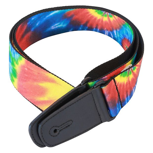 "This beautiful blue, red, green and yellow ""tie dye""designed guitar strap is woven onto a black background to enable it to stand out.We hand select the designs to bring colour and style to your gear to bring a smile to your face."