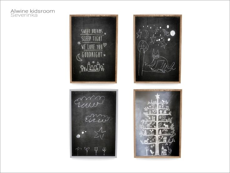 Chalk board with kids drawing  Found in TSR Category 'Sims 4 Paintings & Posters'