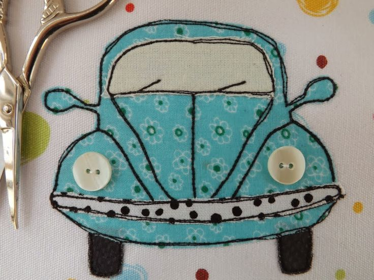 SewforSoul - Classic VW Beetle Bug Car.  Free style machine embroidery and raw edge applique.