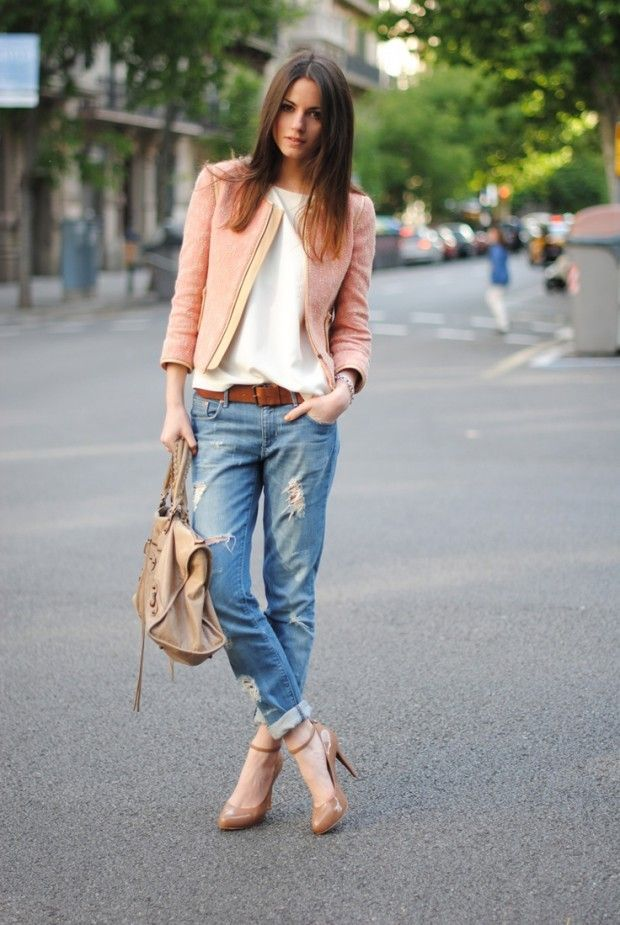 pink coral blazer white cardigan blue jeans belt heels beige handbag watch summer fashion women clothing apparel style outfit casual