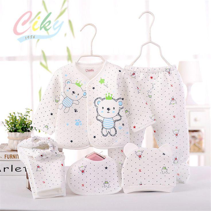 (5pcs/set)Newborn Baby 0-6M Brand  Boy Girl warm Clothes set 100%Cotton Cartoon winter Underwear baby set hat bibs