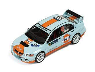 Mitsubishi Lancer EVO IX (Shaun Gallagher - Rally Ireland 2009) in Blue and Orange (1:43 scale by IXO RAM355)