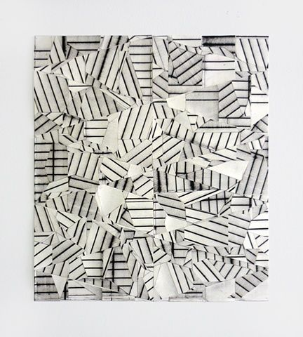 "Similar to my ""security"" idea.     Credit: Devin Powers, ""Puzzle"". Oil on cut paper with artist tape & linen tape, 16"" x 14"" (2011)  [Tumblr Monday with 1991]"