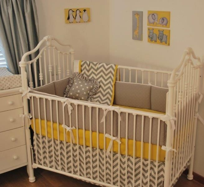 Grey Chevron And Yellow Crib Bedding In The Nursery Pinterest