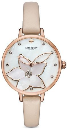 kate spade new york Leather Metro Watch, 34mm