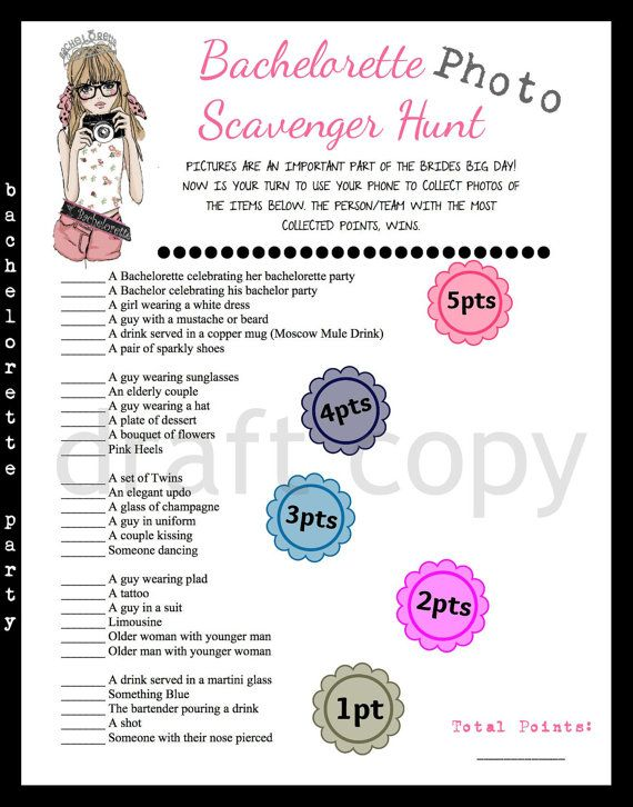 Bachelorette Party Scavenger Photo Hunt Game by 31Flavorsofdesign, $4.50