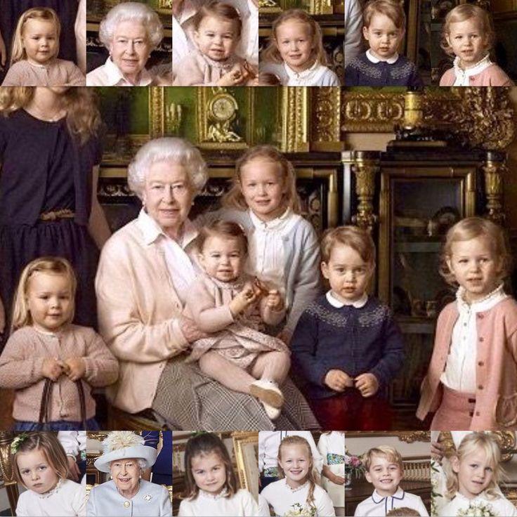 Queen Elizabeth II. mit ihren Enkel- und Urenkelkindern