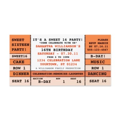 12 best Sweet 16 Sleepover images on Pinterest 40th birthday - concert ticket invitations