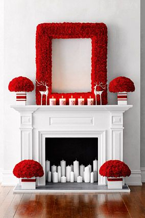 Candy-Cane Crisp This 1950s-inspired setting uses hundreds of the most durable flower on the market: the carnation, which easily can last a week. The flowers are inserted into florist foam that's been taped to an existing frame; white pillar candles and playful reindeer figurines complete the high-contrast display.