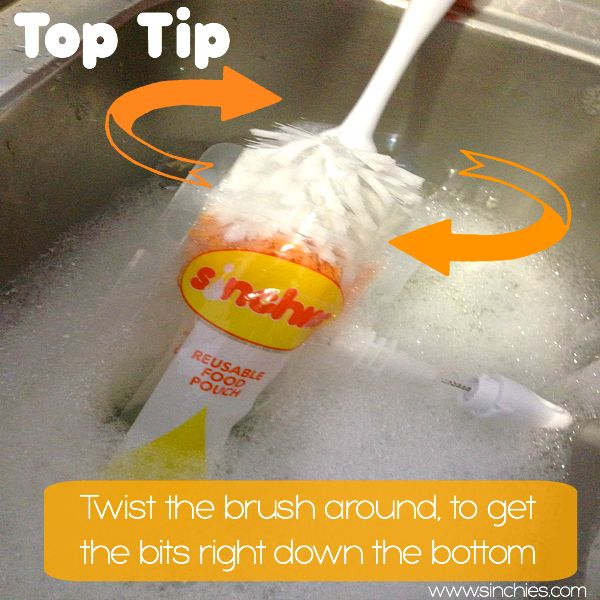 Top Tip - When cleaning your Sinchies reusable pouches, we've found the best way is to use a bottle brush and twist the brush around to get any bits out from down the bottom of the pouch Image on Sinchies  http://www.sinchies.com.au/sinchies-gallery/