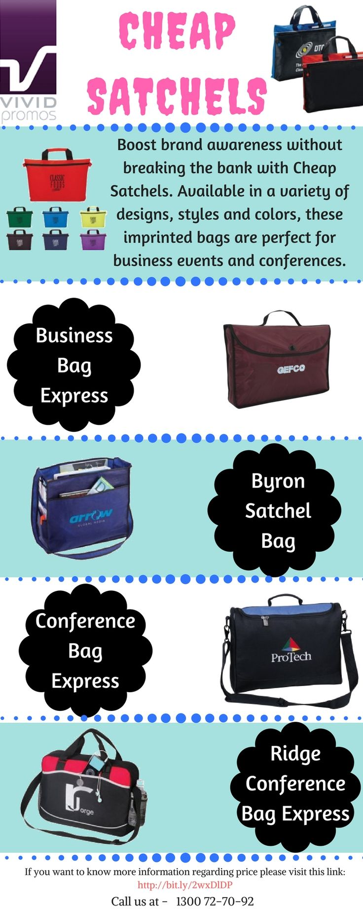 Have a look at this infographic of custom personalised Satchel Bags which has uniquely designed from premium materials to create long lasting and stylish promotional gifts. To get more details: visit: Vividpromotions.com.au