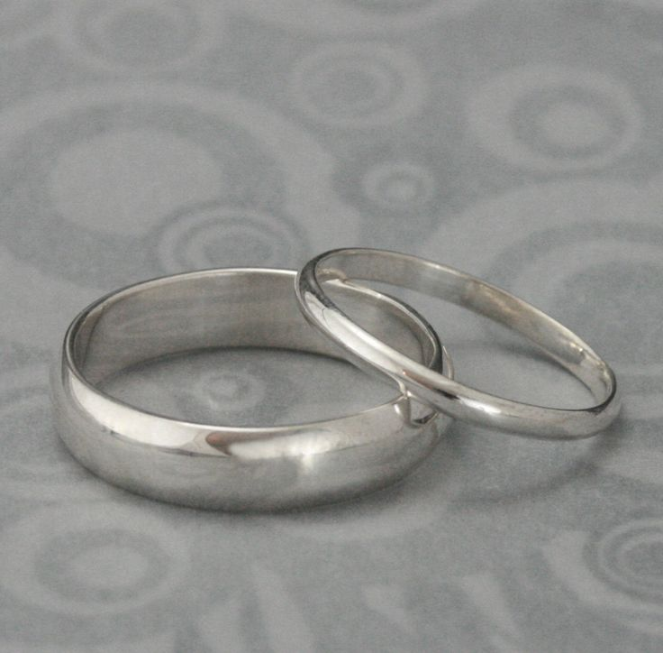 The Perfect Pair--Set of Two Plain Jane Sterling Silver Wedding Rings--Silver Wedding Ring Set custom made for YOU. $55.00, via Etsy.