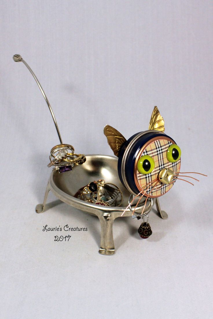 """""""Mini"""" ~ This little cutie loves to hold your rings and things. Found object art created by Laurie Schnurer in 2017. To purchase one of Laurie's Creatures click on this link to her sales page. https://www.facebook.com/LauriesCreatures/"""