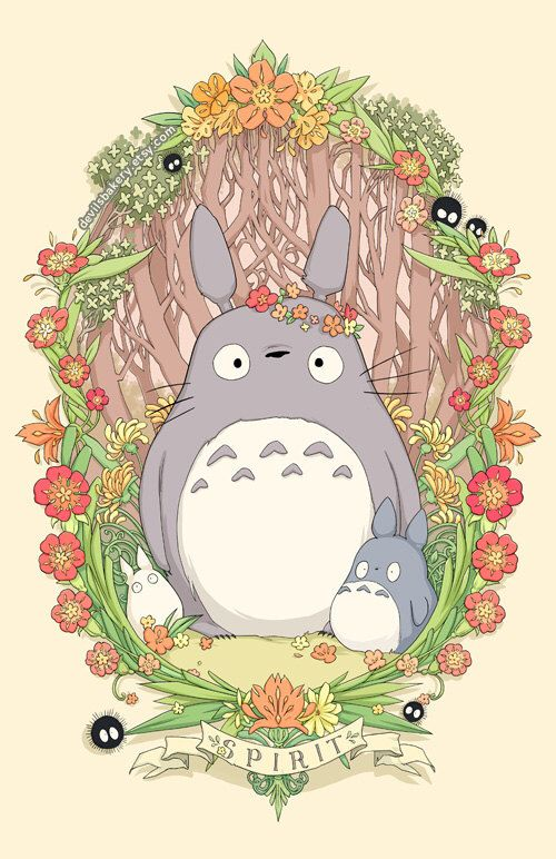 Flower Crown Totoro 18 x 24 Print by devilsbakery on Etsy https://www.etsy.com/listing/208388836/flower-crown-totoro-18-x-24-print
