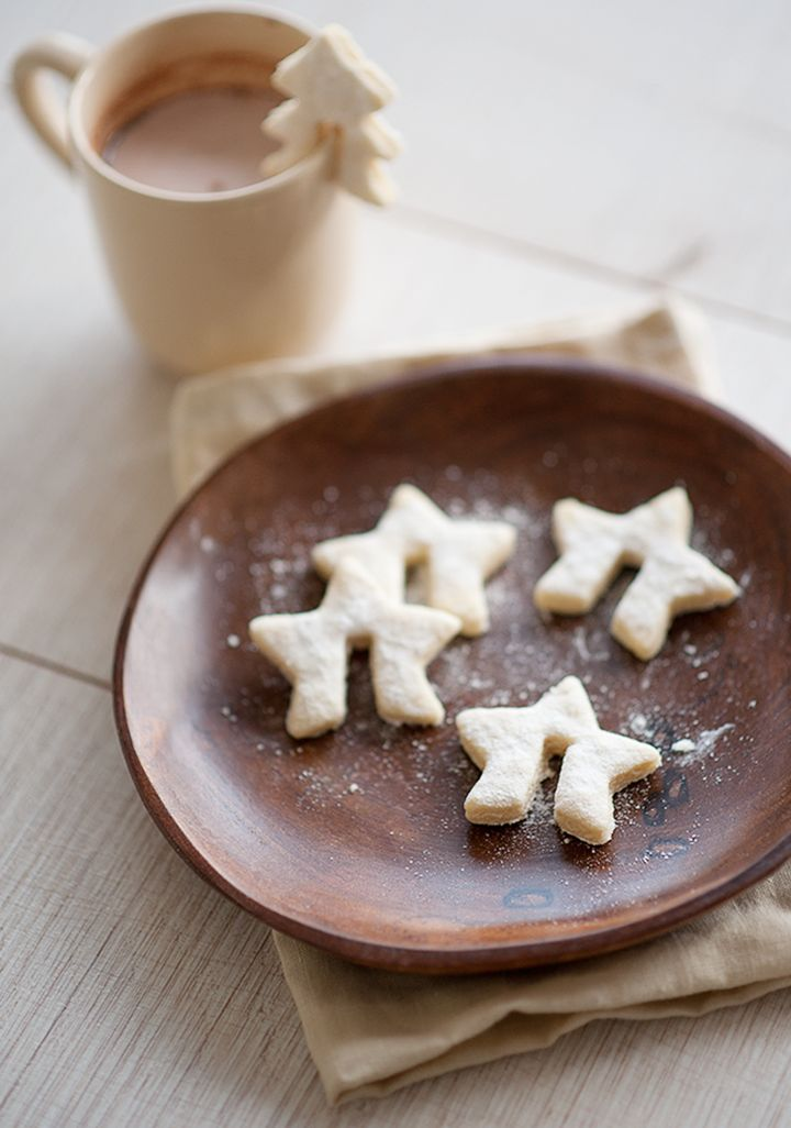 Genius!!! star decorative cookies with the notch is cut out for the hot chocolate cup