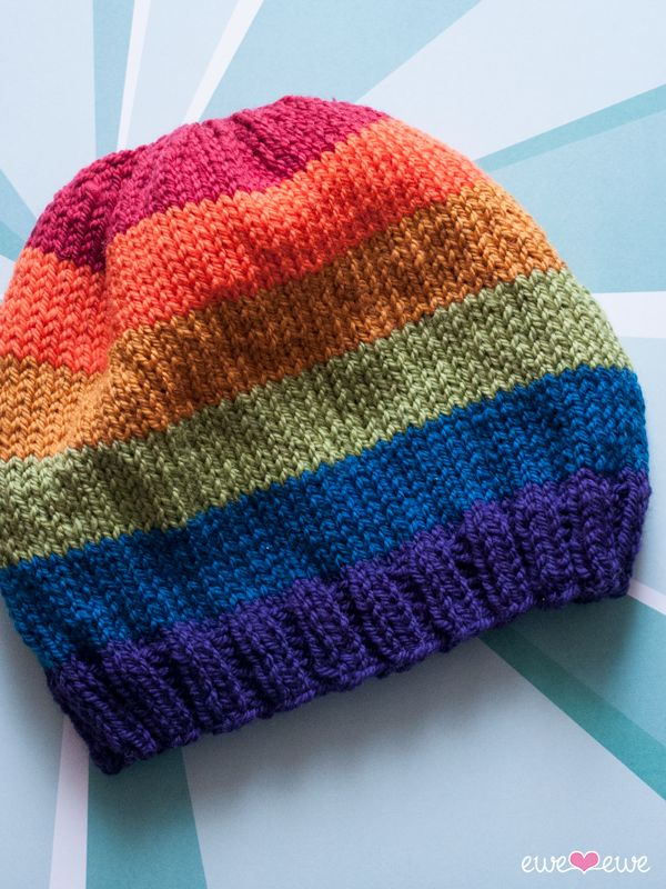 Pride Parade free hat knitting pattern using Ewe Ewe Wooly Worsted yarn