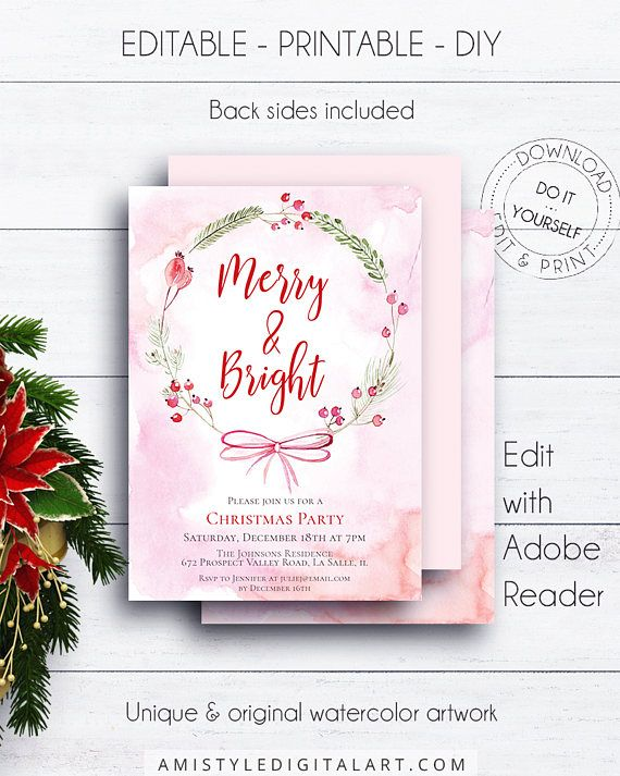 Floral Wreath Christmas Invitation, with adorable watercolor Christmas wreath design for the lovers of the shabby chic style.Floral holiday party invitation listing is an instant download EDITABLE PDF so you can download it right away, DIY edit and print it at home or at your local copy shop by Amistyle Digital Art on Etsy