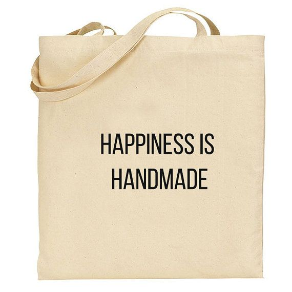 Market tote Bag, Canvas Cotton Tote, Happiness is homemade Quote shopping bag, reusable cotton Grocery Bag, Eco friendly tote bag