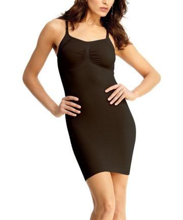 75c27a56582 Shaping Slip Dress w Adjust Straps Waist Cinchers - MeMoi -Shapewear-  Black-  SlimMe  Shapewear