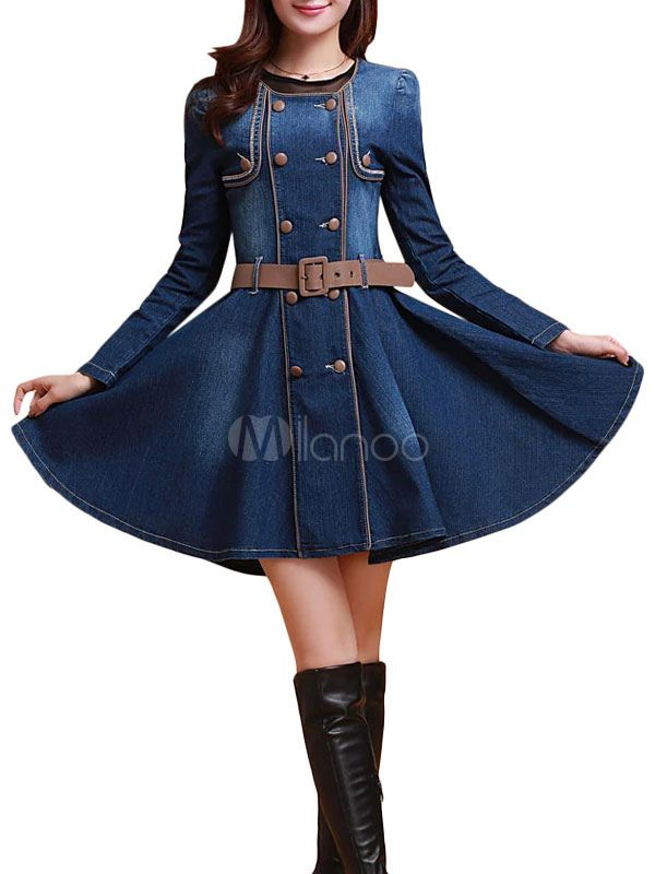 Blue Denim Vintage Dress - Milanoo.com