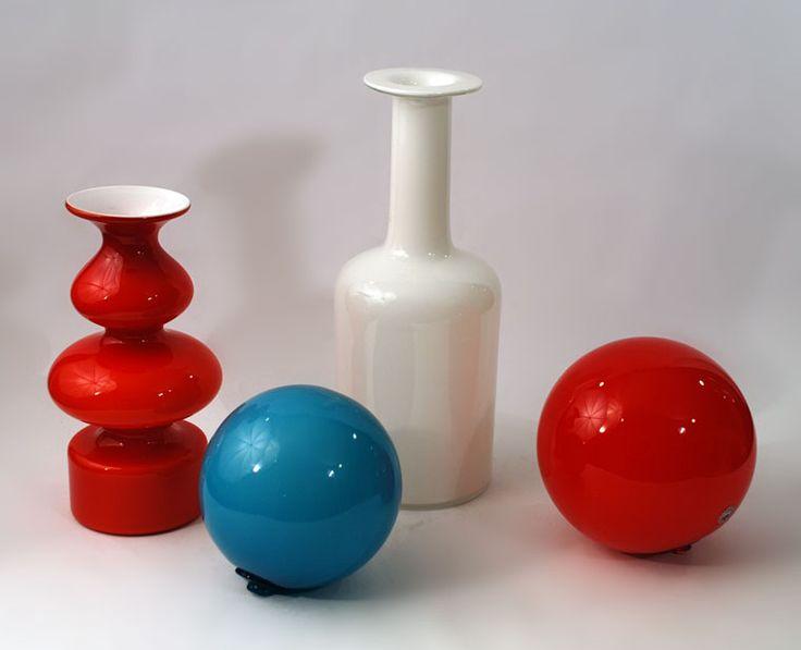 "Holmegaard, ""Carnaby"" vases and hanging spheres"