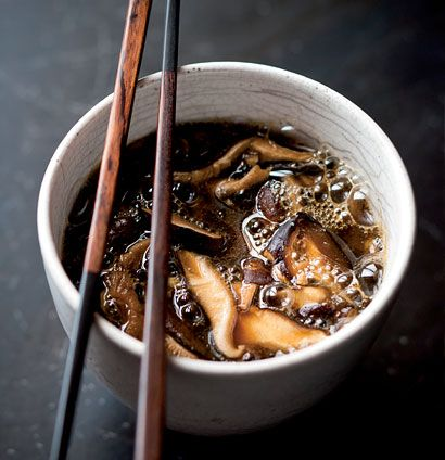 Onion and shiitake hot-and-sour broth.  When the weather starts turning I want to eat this restorative broth.