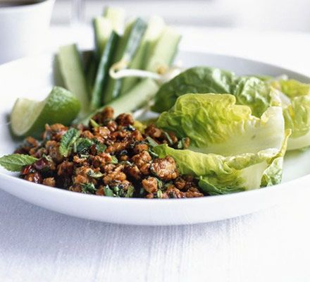 Known as larb gai in Thailand, the hot spiciness in this chicken salad recipe works really well with the crunchy veg, creating a perfect balance of flavour and heat