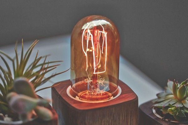 Wooden Walnut Desk Lamp, Aluminum Switch & Braided Cord